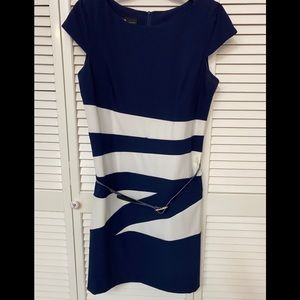 Navy and white color block dress